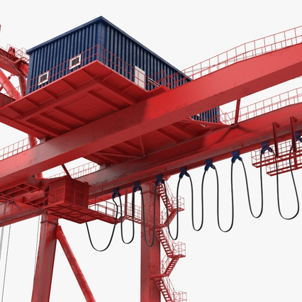 Port Container Crane Red with Container. Render 25