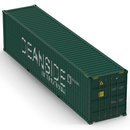 40 ft High Cube Container Green. Render 13