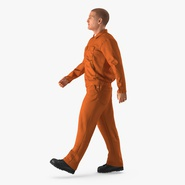 Worker Orange Uniform Walking Pose