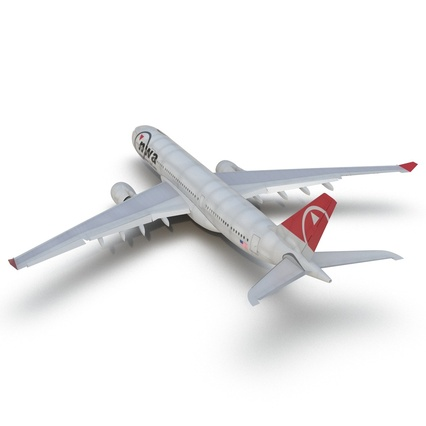 Jet Airliner Airbus A330-200 Northwest Airlines Rigged. Render 26