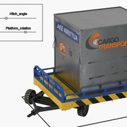 Airport Transport Trailer Low Bed Platform with Container Rigged. Preview 23