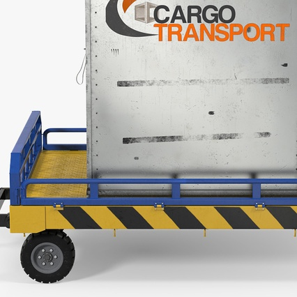 Airport Transport Trailer Low Bed Platform with Container Rigged. Render 13