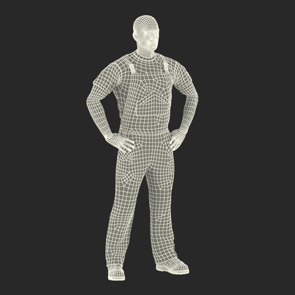 Worker In Orange Overalls Standing Pose. Render 4