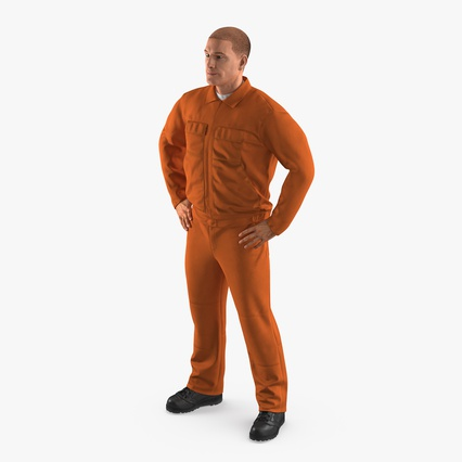 Factory Worker Orange Overalls Standing Pose. Render 1
