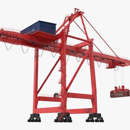 Port Container Crane Red with Container. Render 7