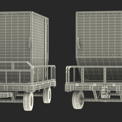 Airport Luggage Trolley Baggage Trailer with Container. Render 32