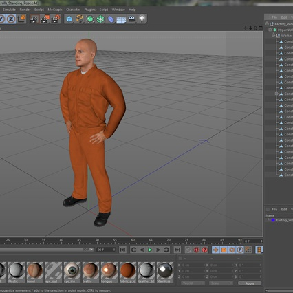 Factory Worker Orange Overalls Standing Pose. Render 23