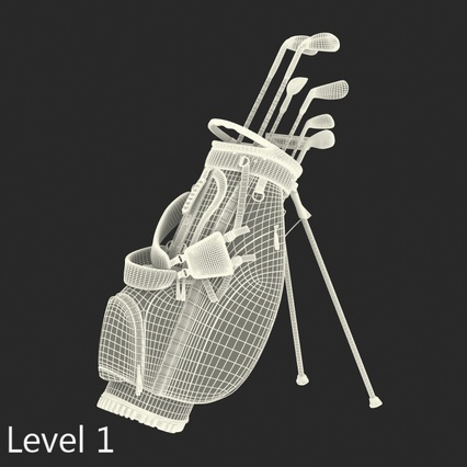 Golf Bag Seahawks with Clubs. Render 18