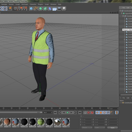 Construction Architect in Yellow Safety Jacket Standing Pose. Render 20