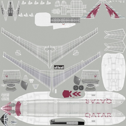 Jet Airliner Airbus A330-300 Qatar Rigged. Render 53