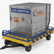 Airport Transport Trailer Low Bed Platform with Container Rigged. Preview 2