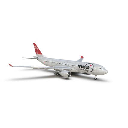 Jet Airliner Airbus A330-200 Northwest Airlines Rigged. Render 4