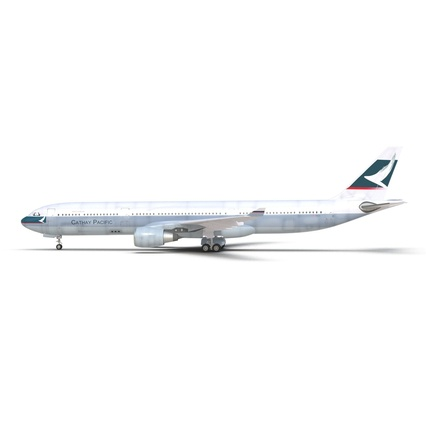 Jet Airliner Airbus A330-300 Cathay Pacific Rigged. Render 4