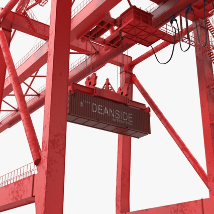 Port Container Crane Red with Container. Render 20