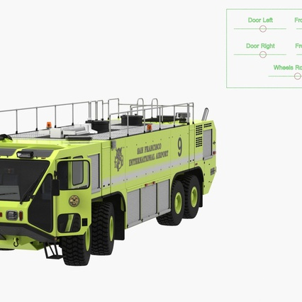 Oshkosh Striker 4500 Aircraft Rescue and Firefighting Vehicle Rigged. Render 11