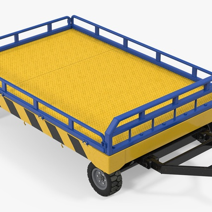 Airport Transport Trailer Low Bed Platform with Container Rigged. Render 14
