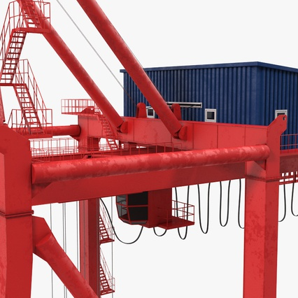 Port Container Crane Red with Container. Render 27