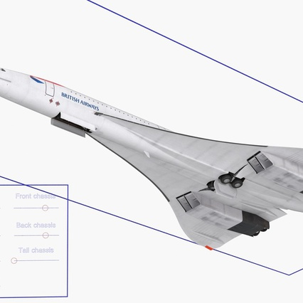 Concorde Supersonic Passenger Jet Airliner British Airways Rigged. Render 20
