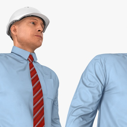Construction Engineer in Hardhat Standing Pose. Render 11