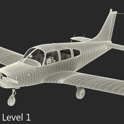 Piper PA-28-161 Cherokee Rigged. Render 24