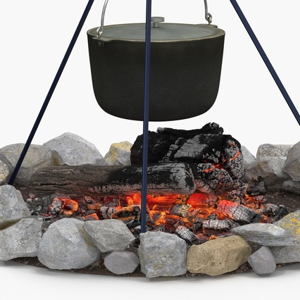 Campfire with Tripod and Cooking Pot. Render 8