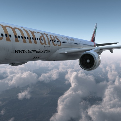 Jet Airliner Airbus A330-300 Emirates Rigged. Render 14