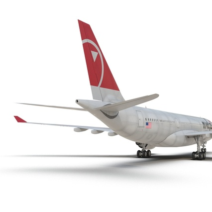 Jet Airliner Airbus A330-200 Northwest Airlines Rigged. Render 37
