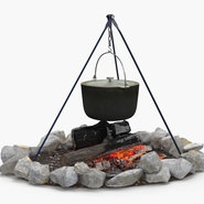 Campfire with Tripod and Cooking Pot. Preview 3