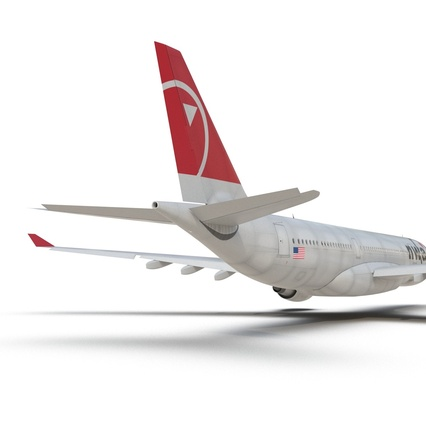 Jet Airliner Airbus A330-200 Northwest Airlines Rigged. Render 36