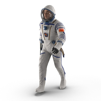 Russian Astronaut Wearing Space Suit Sokol KV2 Rigged for Maya. Render 3