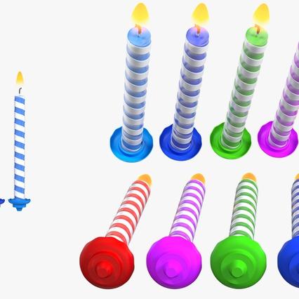 Birthday Candles with Flame Set. Render 10