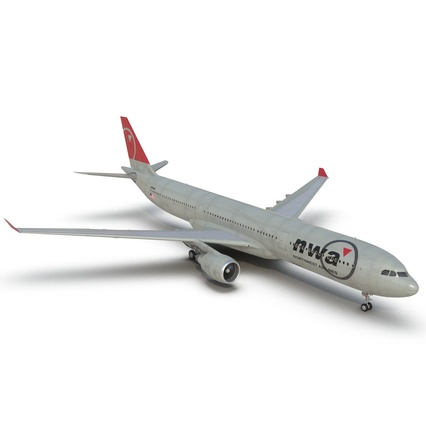 Jet Airliner Airbus A330-300 Northwest Airlines Rigged. Render 27