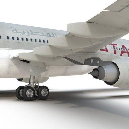 Jet Airliner Airbus A330-200 Qatar. Render 45