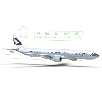 Jet Airliner Airbus A330-300 Cathay Pacific Rigged. Render 41