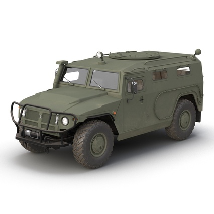 Russian Mobility Vehicle GAZ Tigr M Rigged. Render 9