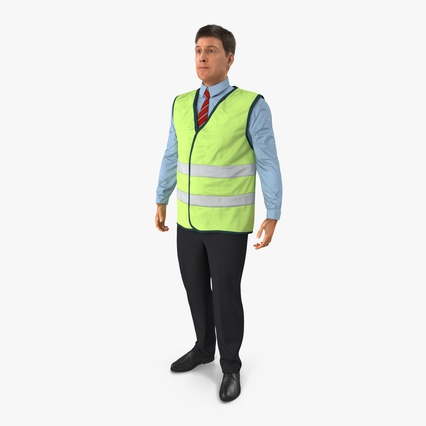 Construction Architect in Yellow Safety Jacket Standing Pose. Render 3