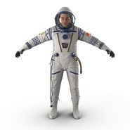 Russian Astronaut Wearing Space Suit Sokol KV2 Rigged for Maya. Preview 2