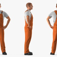 Factory Worker Orange Overalls Standing Pose. Preview 6