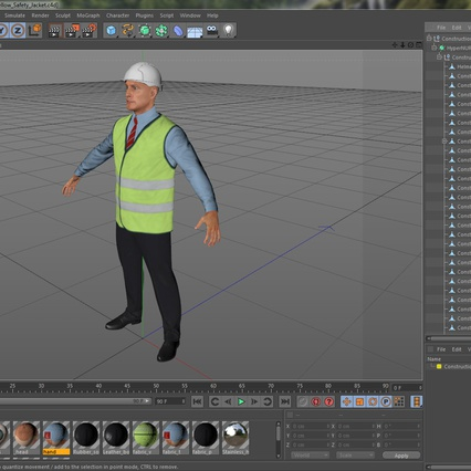 Construction Architect in Yellow Safety Jacket. Render 22
