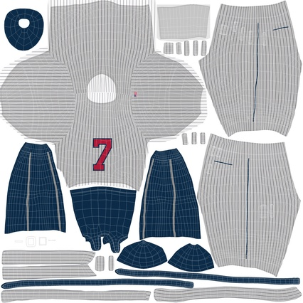 Baseball Player Outfit Generic 8. Render 31