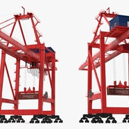Port Container Crane Red with Container. Preview 10