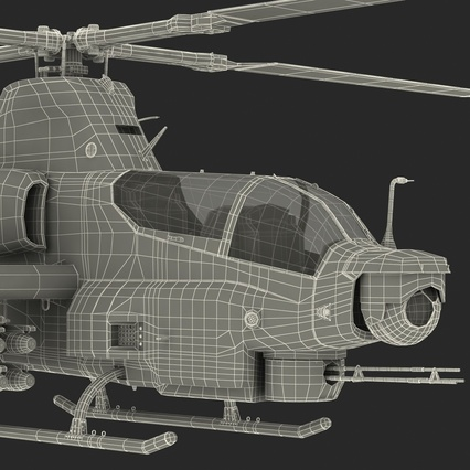 Attack Helicopter Bell AH 1Z Viper Rigged. Render 106