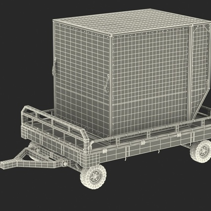 Airport Transport Trailer Low Bed Platform with Container Rigged. Render 7