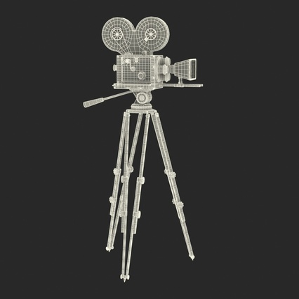 Vintage Video Camera and Tripod. Render 4