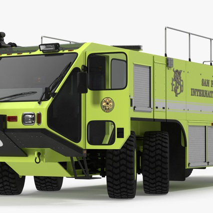 Oshkosh Striker 4500 Aircraft Rescue and Firefighting Vehicle Rigged. Render 2