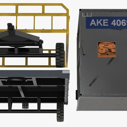 Airport Luggage Trolley Baggage Trailer with Container. Render 22
