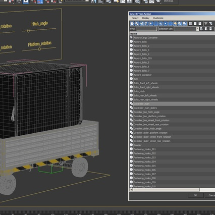 Airport Luggage Trolley with Container Rigged. Render 30