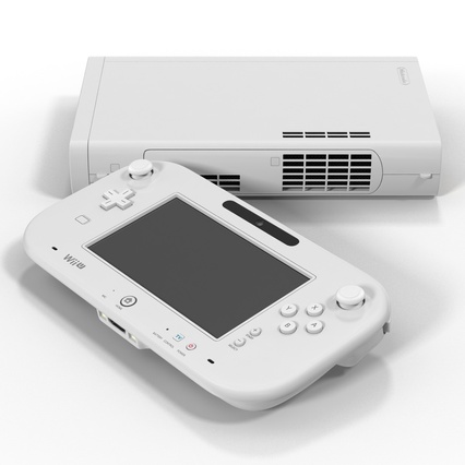 Nintendo Wii U Set White. Render 13