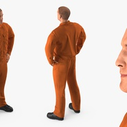 Factory Worker Orange Overalls Standing Pose. Preview 7