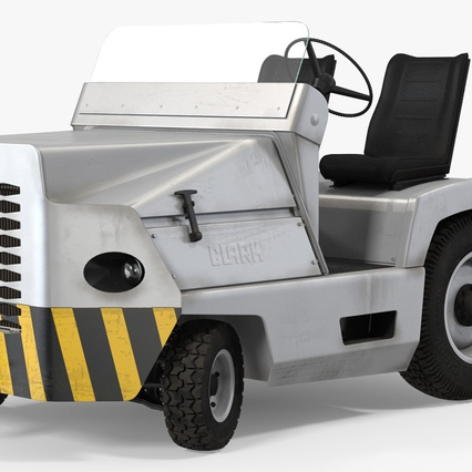 Airport Tug Clark CT30 Carrying Passengers Luggage. Render 11